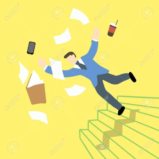 56340691-businessman-is-losing-balance-and-falling-down-on-staircase-while-the-file-folder-and-tablet-is-in-t